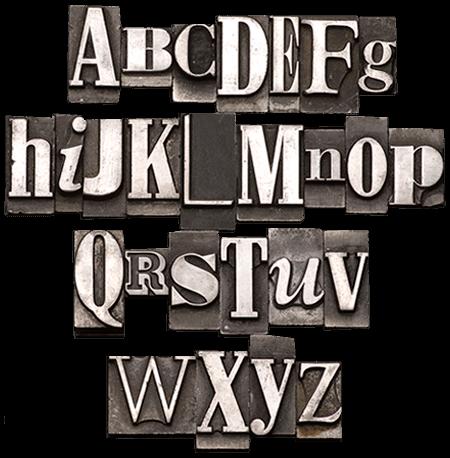 Alphabet in Setzlettern für Druck