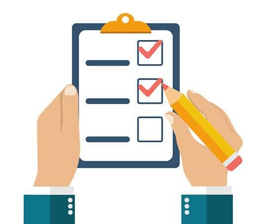 Checkliste wird abgeharkt, illustriert