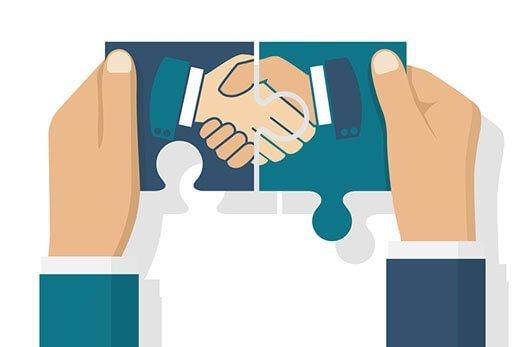 Zwei Puzzleteile mit schüttelnden Händen werden zusammengesetzt, illustriert