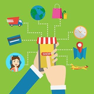 """Smartphone mit """"SHOP"""" auf dem Display und Linien zu Icon aus dem Bereich Online Shopping"""