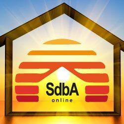 Haus mit Sonne in der Mitte, zentral das Logo von SdbA-Online