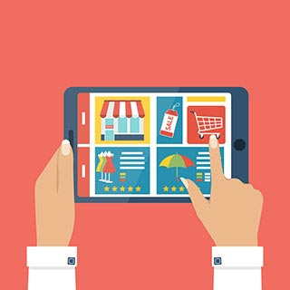 Frau mit Tablet in der Hand und Onlineshops darauf, illustriert