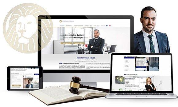 Komposition von Webseiten Ansichten auf Monitor, Tablet und Smartphone von Chambers of Lions