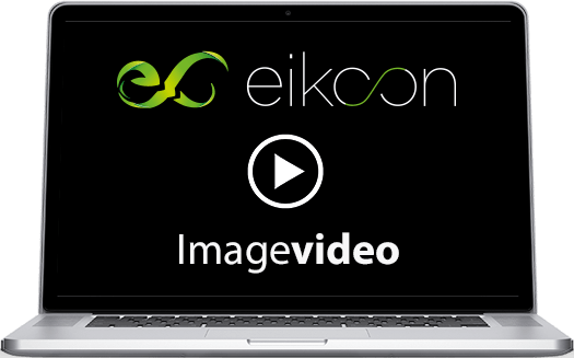 Laptop mit eikoon Imagevideo und Playbutton