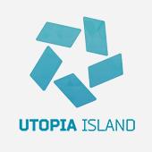 Türkisblaues Utopia Island Logo mit Schriftzug