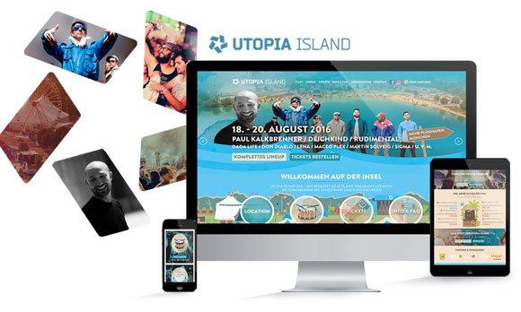 Komposition von Webseiten Ansichten auf Monitor, Tablet und Smartphone von UTOPIA Island