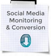 "Blockblatt mit Karos und Aufschrift ""Social Media Monitoring & Conversion"""