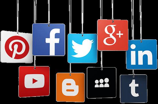 Icons der bekanntesten Social Networks wie Facebook, Twitter, LinkedIn, YouTube und Pinterest