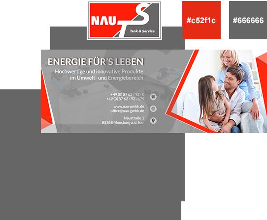 Social Media Design NAU TS in rot-grauer Firmen CI
