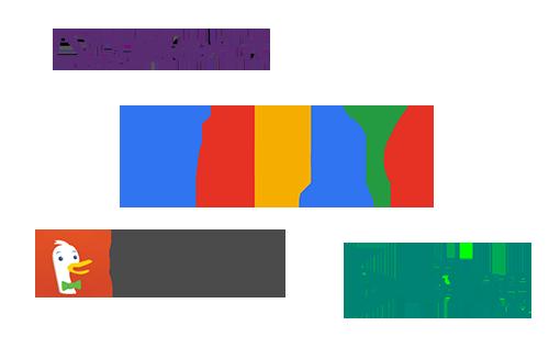 Sammlung von Suchmaschinenanbieter Logos: YaHoo!, Google, DuckDuckGo, Bing