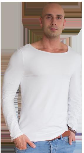 Erik Kunz mit weißem T-Shirt