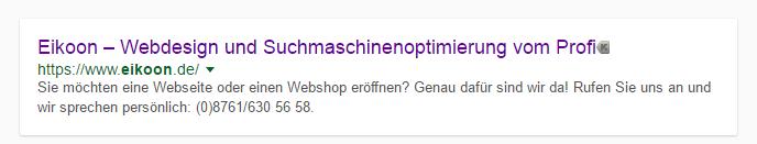 Anzeige eines Suchergebnisses