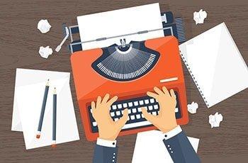 Mann bedient Schreibmaschine, daneben Blätter, Papiermüll und Stifte, illustriert