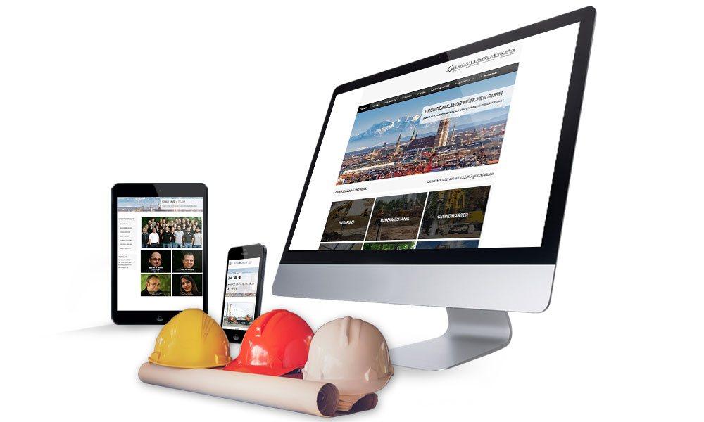 Komposition von Webseiten Ansichten auf Monitor, Tablet und Smartphone von Grundbaulabor München
