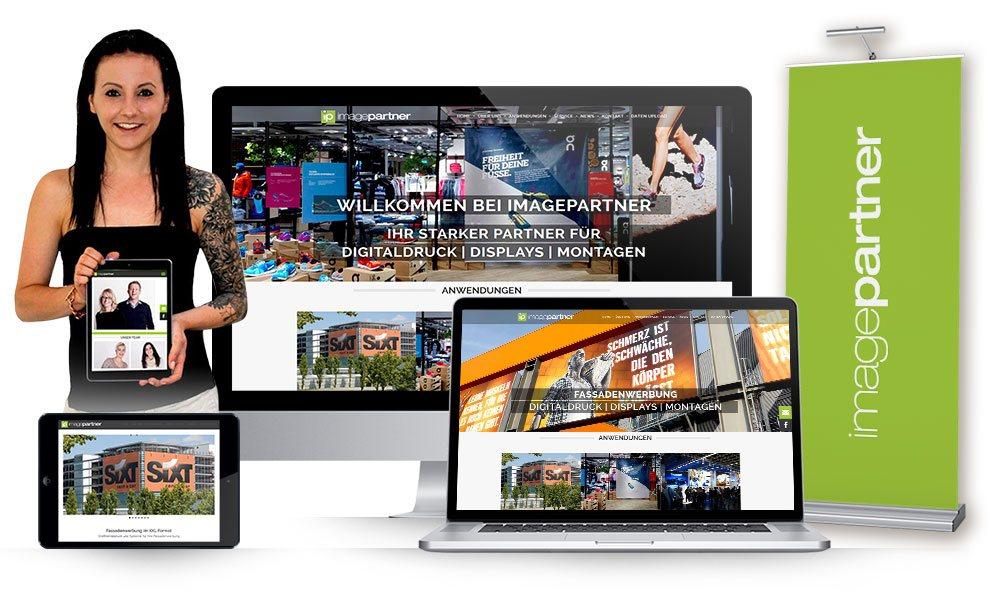 Komposition von Webseiten Ansichten auf Monitor, Tablet und Smartphone von ImagePartner