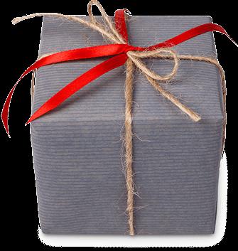 Graues Geschenkpaket mit roter Schleife