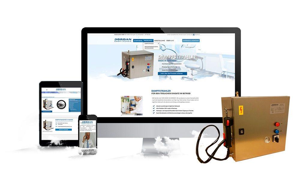 Komposition von Webseiten Ansichten auf Monitor, Tablet und Smartphone von Jordan Dampftechnik