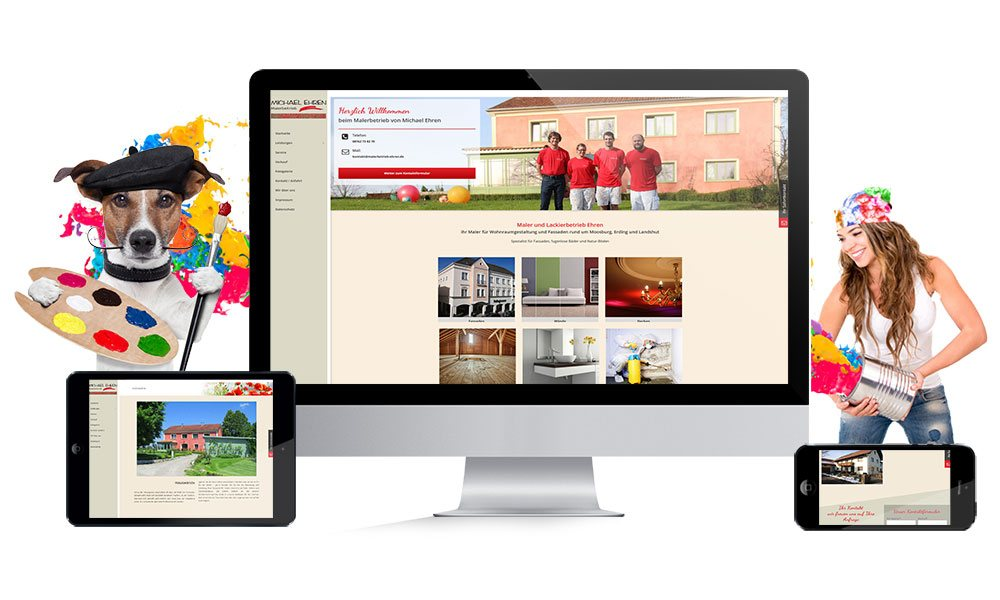 Komposition von Webseiten Ansichten auf Monitor, Tablet und Smartphone von Malerbetrieb Michael Ehren