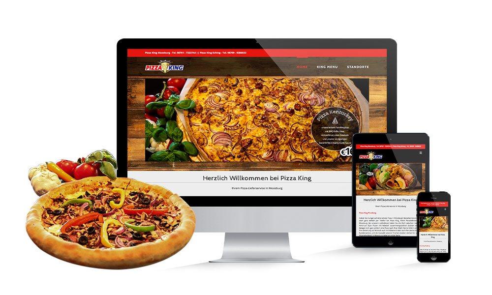 Komposition von Webseiten Ansichten auf Monitor, Tablet und Smartphone von Pizza King Moosburg