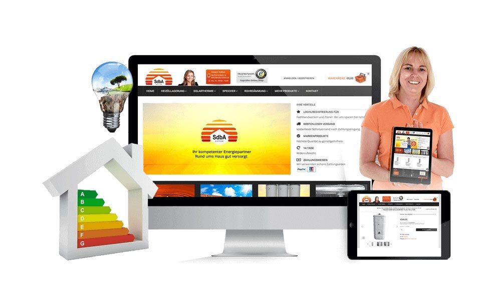Komposition von Webseiten Ansichten auf Monitor, Tablet und Smartphone von SdbA-Online