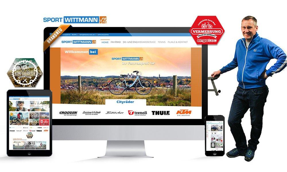 Komposition von Webseiten Ansichten auf Monitor, Tablet und Smartphone