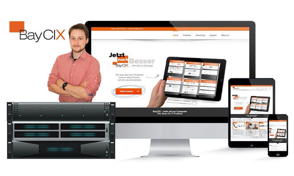 Komposition von Webseiten Ansichten auf Monitor, Tablet und Smartphone von BayCIX