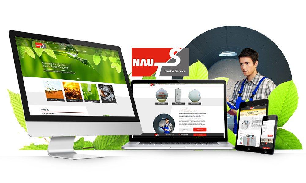 Komposition von Webseiten Ansichten auf Monitor, Tablet und Smartphone von NAU TS