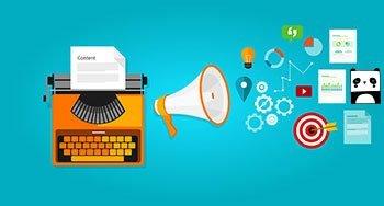 Schreibmaschine aus der ein Megaphon Icons und Inhalte ausruft