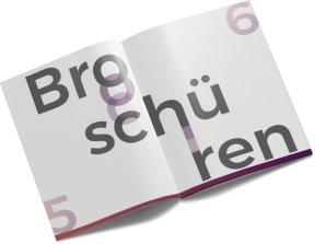 Bild mit weißer Broschüre und Aufschrift ``Broschüre``
