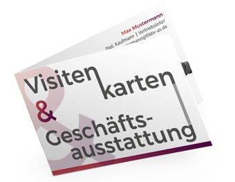 Visitenkarte mit Auffschrift ``Visitenkarten & Geschäftsausstattung``