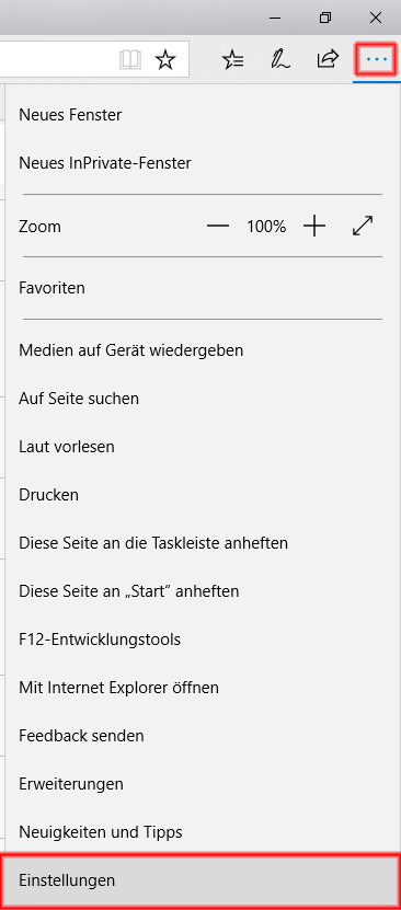 Edge Browser Einstellungen