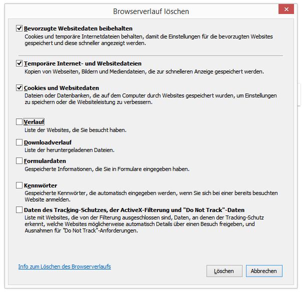 Internet Explorer Browserdaten löschen Menü