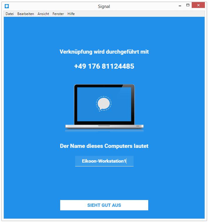 Signal Messenger Desktop Client Verknuepfung