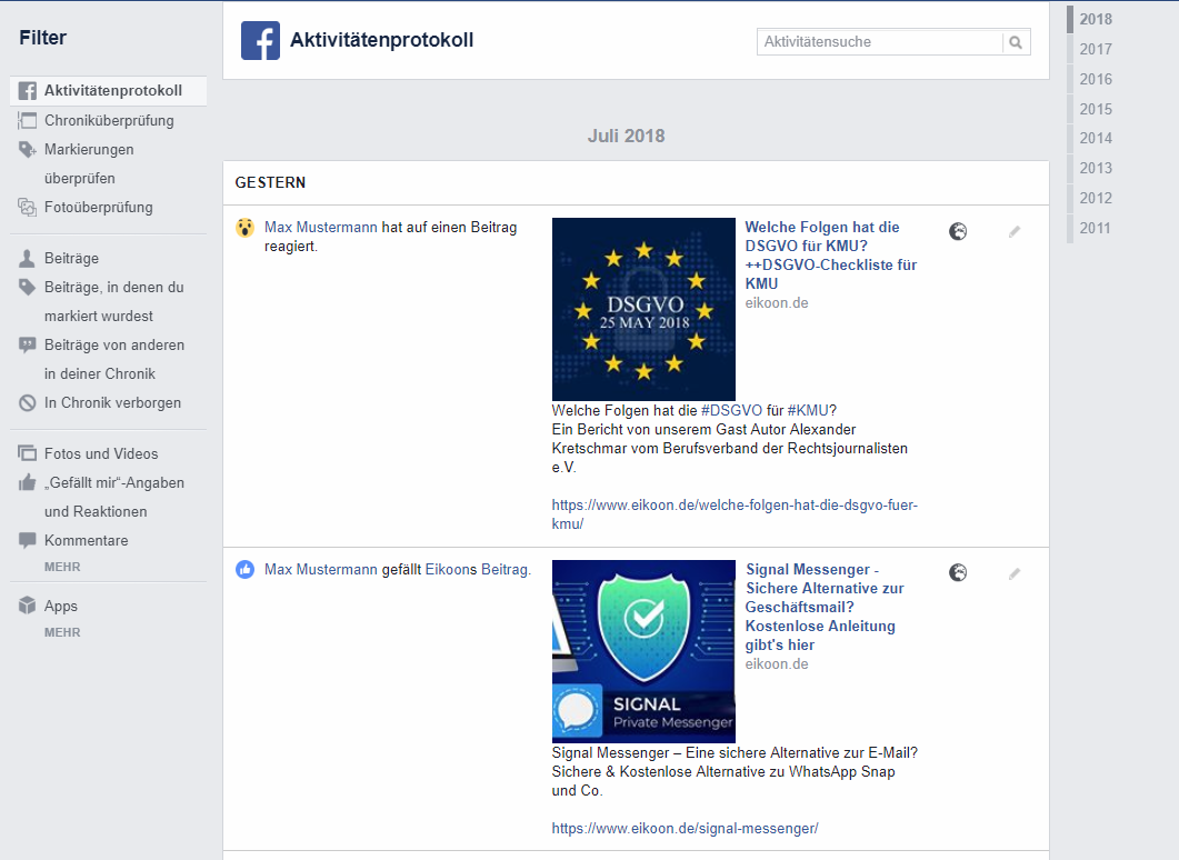 Deine Facebook Informationen - Aktivitätenprotokoll