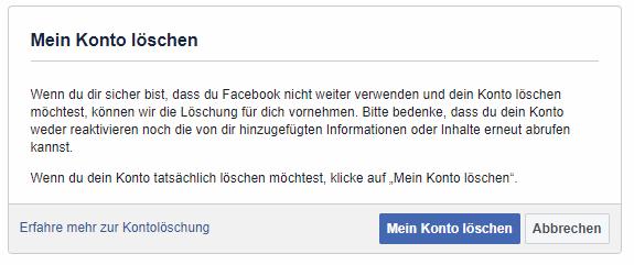 Facebook Konto löschen nach der DSGVO
