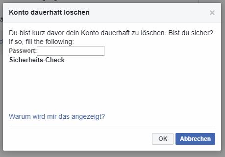 Facebook Konto löschen Bestätigung