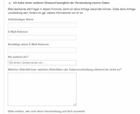 Facebook DSGVO Formular Anfrage