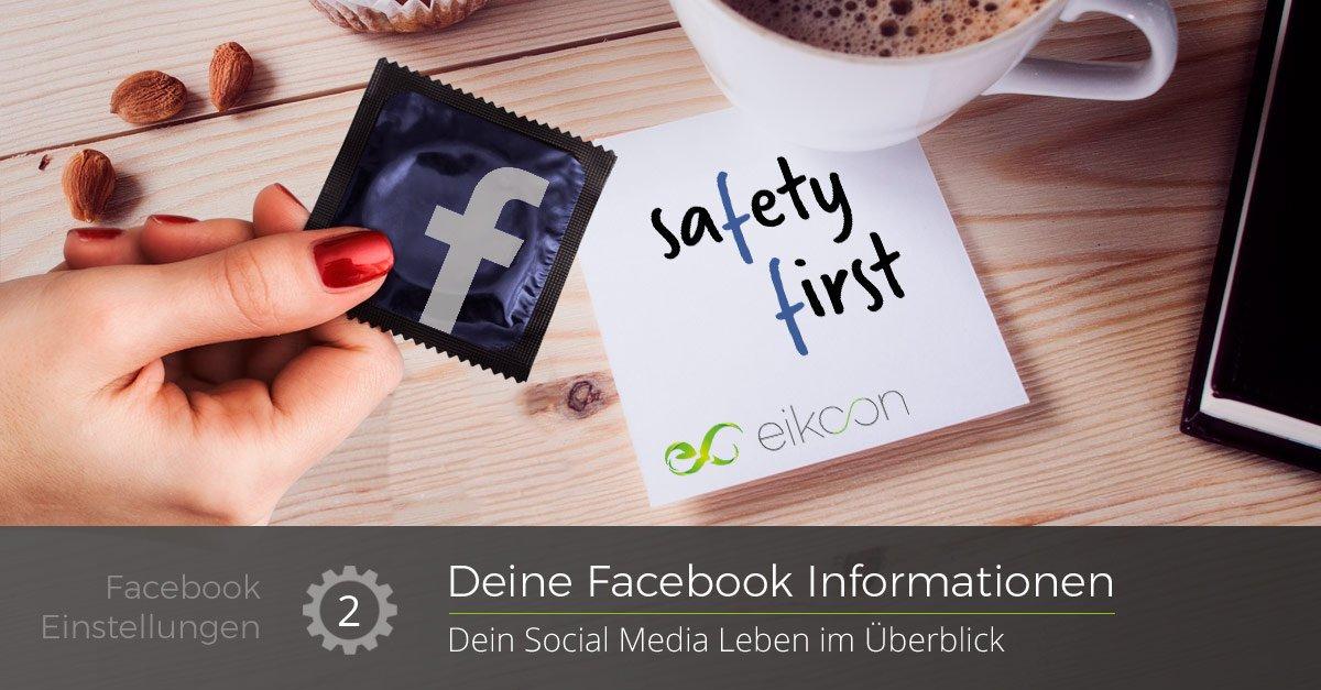 """Frau hält blaues Kondom mit Facebook F, am Tisch liegt ein Zettel mit """"Safety First"""" und eikoon Aufschrift - Beschriftung """"Deine Facebook Informationen"""" darunter """"Dein Social Media Leben im Überblick"""""""