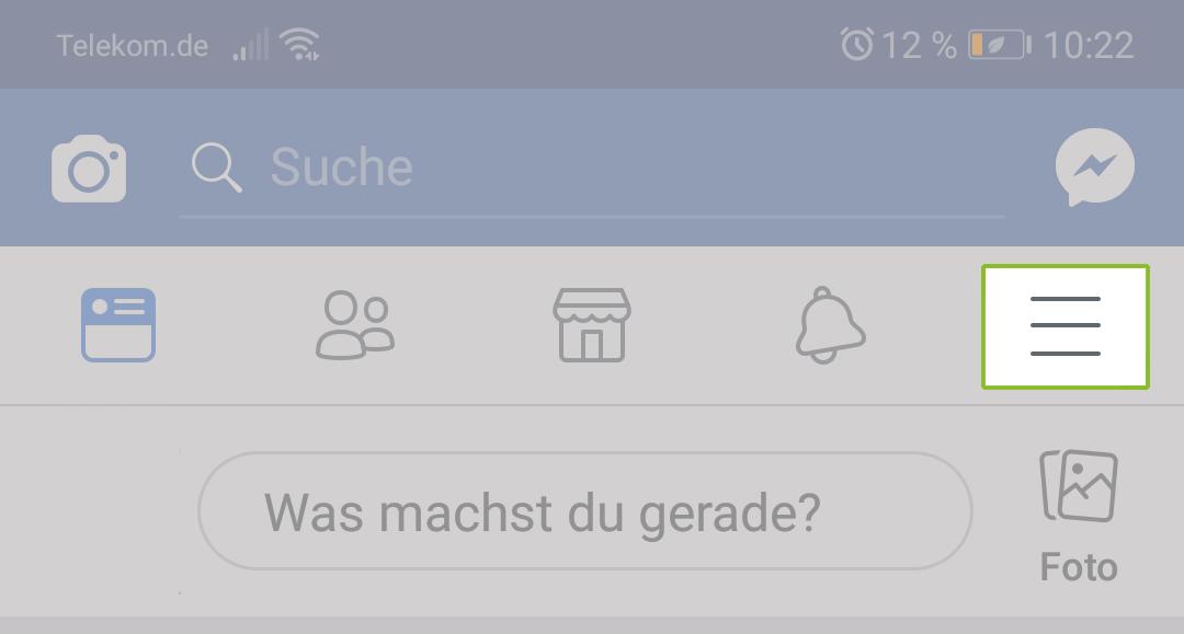 Menü in der Facebook App