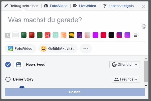 Beitragsfeld auf Facebook mit Einstellungsmöglichkeiten zur Sichtbarkeit
