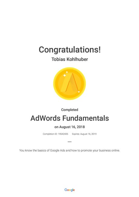 Google AdWords Fundamentals - Zertifikat