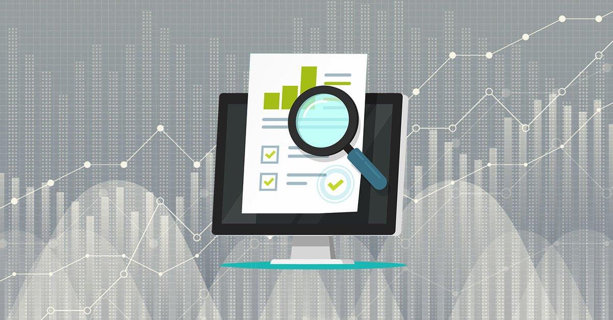 Grafik von Monitor auf dem eine Analyse und eine Lupe zu sehen sind