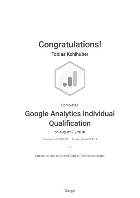 Google Analytics Individual Qualification Zertifikat