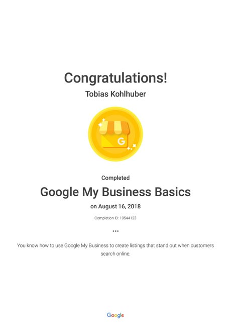 Google My Business Basics Zertifikat